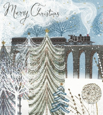 10 luxury christmas cards woodmansterne merry christmas steamtrain and birds englishmodelrailwaysshop - Luxury Photo Christmas Cards
