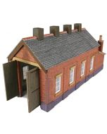 Model kit N: single track engine shed red brick - Metcalfe - PN931