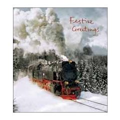 5 Christmas cards - festive greetings - steam train in snow