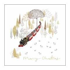 luxury Christmas card woodmansterne - merry christmas - steam train