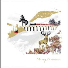 luxury Christmas card woodmansterne - steamtrain running over viaduct