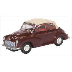 Morris minor convertible - maroon white - Oxford Diecast - OO scale