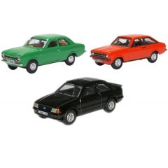 3 car set Ford Escort- mk1 mk2 mk3 - Oxford Diecast - OO scale