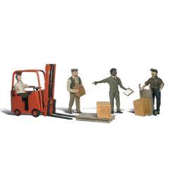 Magazijnmedewerkers en vorkheftruck - Woodland scenics A2744 O figuren