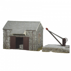 Model kit OO: stone goods shed, bank and crane