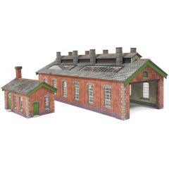 Model kit N: double track engine shed red brick - Metcalfe - PN913