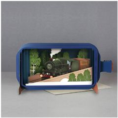 3D pop up greeting card - message in a bottle - the castle train | englishmodelrailways.shop