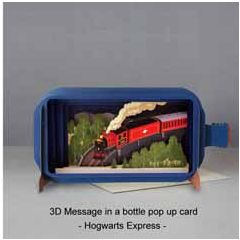 3D pop up greeting card - message in a bottle - hogwarts express | englishmodelrailways.shop