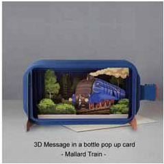 3D pop up greeting card - message in a bottle - mallard train | englishmodelrailways.shop