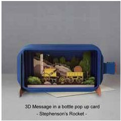 3D pop up greeting card - message in a bottle - stephenson's rocket | englishmodelrailways.shop