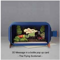 3D pop up greeting card - message in a bottle - the flying scotsman | englishmodelrailways.shop