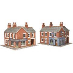 Bouwpakket N: Hoek winkel en pub in rood baksteen -  Metcalfe - PN116