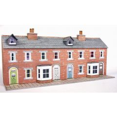 Model kit N:  Low relief terraced house fronts in red brick style - Metcalfe - PN174