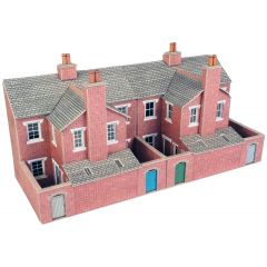 Model kit OO/HO: Low relief terraced house backs - red brick - Metcalfe - PO276