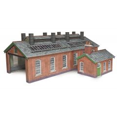 Model kit OO/HO: double track Engine shed - red brick - Metcalfe - PO313