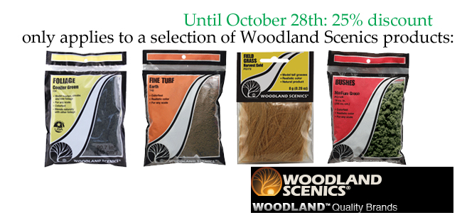 25% discount on selection of Woodland Scenics products
